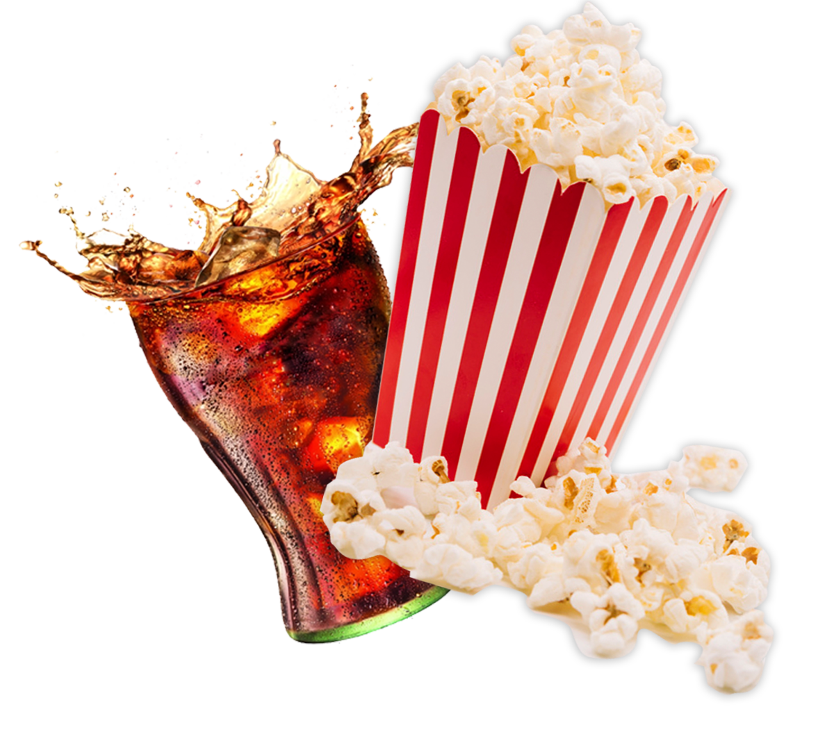 Popcorn and soft drink